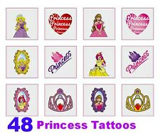48 Tatuaggi Temporanei Girl Principessa nparty Borsa Filler Reward Sticker Bambini Giocattolo