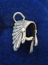 Sterling Silver 3D 16x9x10mm Indian Headdress for a Chief Charm