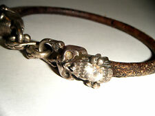 DOUBLE SKULL BRACELET STERLING &LEATHER DESIGNER SIGNED LARGE CZ STONES IN MOUTH