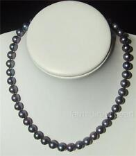 """Long 20"""" Inch Genuine 8-9mm ROUND Black Pearl Necklace Cultured Freshwater"""