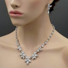 18K White Gold GP Cubic Zirconia CZ Necklace Earrings Wedding Jewelry Set 08418