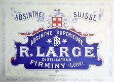 """""""ABSINTHE R. LARGE"""" Affiche d'intérieur originale litho entoilée 1900  45x34cm"""