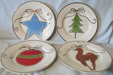Pier 1 Round Holiday Tree, Ornament, Reindeer and Star Salad Plate set of 4