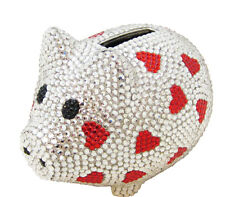 Silver Metal Crystal Coin Piggy Bank w/ Swarovski Crystals  Valentine Red Heart