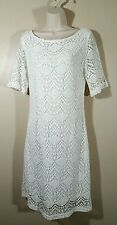 White CROCHET LACE Woman's Size 14 DRESS by SHARAGANO Lined Sheath Medium