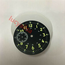 39mm Green Luminous literal Black Watch Dial Fit ETA 6497 Hand Winding movement