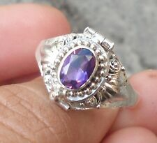 925 Solid Silver Balinese Poison/Locket Ring Amethyst Cut Size 7-H65