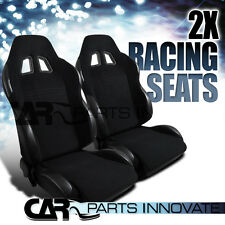 2 Racing Seats Black Sport Racing Seats Driver Passenger Side w/ Slider