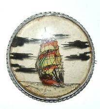 LARGE STERLING SILVER BROOCH. ROPE TWIST BORDER & HAND PAINTED SHIP. HALLMARKED.
