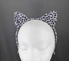 White Black cat ears headband cheetah soft faux fur furry kitten hair band