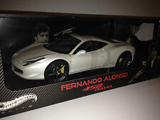1/18 Fernando Alonso 458 Ferrari Italia White Hot Wheels Elite