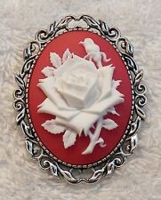 NEW VICTORIAN CAMEO BROOCH INTRICATE BLOOMING WHITE ROSE BLOSSOM GARDEN FLOWER T