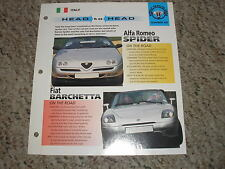 Head to Head Fiat Barchetta vs Alfa Romeo Spider GP 11 # 20 Spec Sheet Brochure