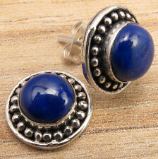 Natural LAPIS LAZULI Gemstone Sterling Silver Plated Stud Earrings VINTAGE STYLE
