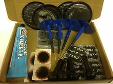 REMA TIP GLUE PUNCTURE REPAIR KIT + MUSHROOM PLUGS PATCHES 4 VALVES CAR VAN QUAD