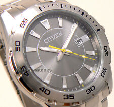 CITIZEN MEN GRAY FACE STAINLESS STEEL DATE WR 100m BI1040-50H
