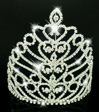 large silver plated crystal Tiara  Wedding Pageant Crown