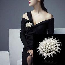 Wedding Bridal Silver Rhinestone Crystal Pearl Sun Flower Brooch Bouquet Pin