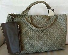 Falorni FALOR La Borse ITALY Hand Woven SAGE GREEN Leather Tote/Handbag~NWT