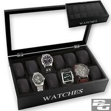 Uhrenbox Uhrenkasten Uhrenkoffer Uhrenschatulle Uhrentruhe 12 Uhren schwarz NEU