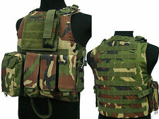 Military Tactical Paintball Army Gear Woodland MOLLE Carrier Airsoft Combat Vest