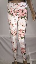 Must Have Leggings White Pink Floral Print Lolita Style Sexy Pants - Small
