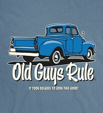 """OLD GUYS RULE """" BLUE TRUCK """" IT TOOK DECADES TO LOOK THIS GOOD """" V8 S/S SIZE  3X"""