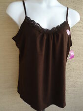 NWT JUST MY SIZE STRETCH COTTON BLEND ADJUSTABLE STRAPS  LACE TRIMED CAMI TOP 2X