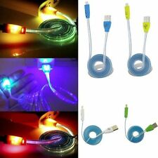 Glow Visible LED Light Up Micro USB 2.0Charger Data Sync Charge Cable For Phones