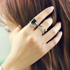 3Pcs Cool Antique Silver Punk Knuckle Finger Rings Band Midi Ring