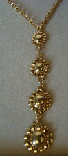 Lovely!!! VERONESE Shiny Sterling Silver Vermeil Goldtone Flower Necklace