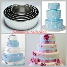 SET OF PROFFESSIONAL 5 TIER ROUND CAKE BAKING TINS HEAVY DUTY 5 WEDDING PANS