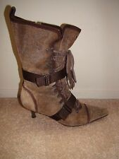 DIESEL Women's EVEREST Leather Mid-Calf Brown Stiletto Boots Women's Sz 8 NEW