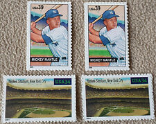 4 New MICKEY MANTLE & NY Yankee Stadium Commemorative MINT US Postage Stamps Lot