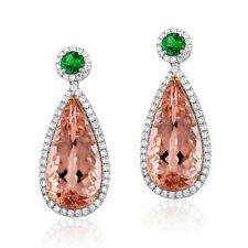 18ct White Gold Stunning Natural Morganite Tsavorite Diamonds Earrings VVS