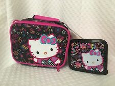 New HELLO KITTY Black & Pink Canvas Insulated Lunch Bag W/ Sandwich Container
