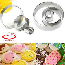 3Pcs Stainless Steel Round Circle Cookie Biscuit Cutter Fondant Cake Paste Mould