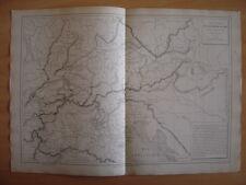 CARTE géographique Carte physique de l'Allemagne du Sud et de l'Italie du Nord