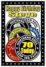 NORTHERN SOUL (PATCHES) - HAPPY 70th BIRTHDAY PERSONALISED CARD (ANY NAME / AGE)