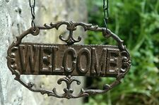 SHABBY CHIC CAST IRON METAL HANGING WELCOME SIGN GARDEN GATE FARMHOUSE RUSTIC