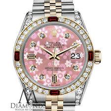Peach Flower Rolex 31mm Datejust Two-Tone 18K Gold & SS Ruby & Diamond Jubilee