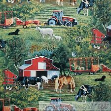 BonEful Fabric FQ Cotton Quilt Farm Tractor Red Barn Animal Sheep Scenic Hay Dog
