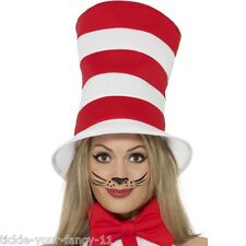 Women's Girls Licensed Cat In The Hat Red & White Hat  Dr Seuss Fancy Dress Film