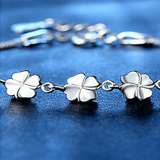 New Lucky Girl's Jewelry Silver Four Leaves Clover Charm Chain Bracelet Jewelry