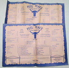 (2) Vintage Peel Place Steak House Inc. Restaurant Menu Placemat Montreal Canada