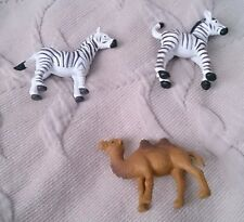 Lot 3 Zebras Camel Safari Ltd Wild Animals African Play Toys RUBBER Figures