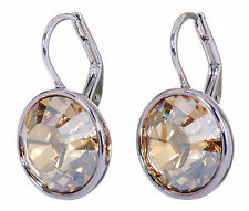 Swarovski Elements Crystal Golden Shadow Bella Pierced Earrings Rhodium 7170x
