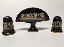 """Vtg """"Terracotta Hand Made in 24 K Gold"""" table set - Greece black gold"""