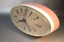 RARE Mid-Century Art Deco General Electric GE Pink Oval Wall Clock  2H115 WORKS!