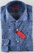 NWT ISAIA DRESS SHIRT paisley logo blue luxury handmade Italy 42 16 1/2